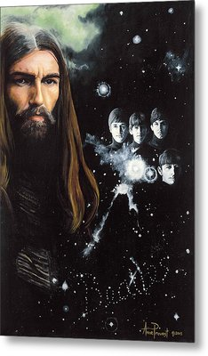 George Harrison And The Beatles Metal Print by Anne Provost