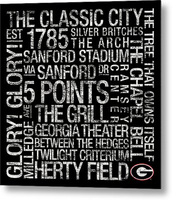 Georgia College Colors Subway Art Metal Print by Replay Photos
