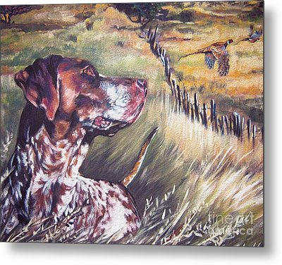 German Shorthaired Pointer And Pheasants Metal Print by Lee Ann Shepard