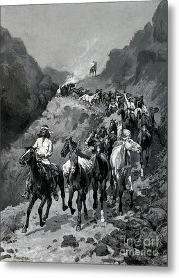 Geronimo And His Band Returning From A Raid Into Mexico Metal Print by Frederic Remington