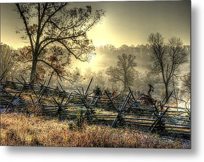 Gettysburg At Rest - Sunrise Over Northern Portion Of Little Round Top Metal Print by Michael Mazaika