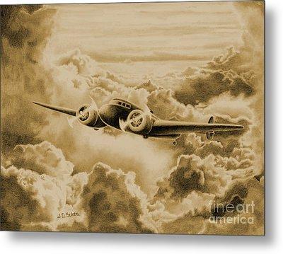 Ghost Flight- Amelia Earhart Sepia Metal Print by Sarah Batalka