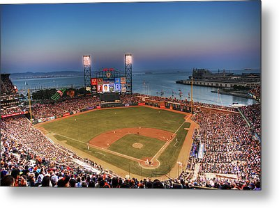 Giants Ballpark At Night Metal Print by Shawn Everhart