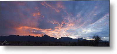 Gila River Indian Sunset Pano Metal Print by Anthony Citro