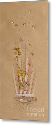 Giraffe And Rubber Duckies Metal Print by David Breeding