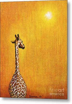 Giraffe Looking Back Metal Print by Jerome Stumphauzer
