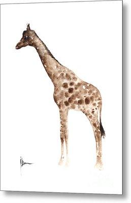 Giraffe Watercolor Art Print Painting African Animals Poster Metal Print by Joanna Szmerdt