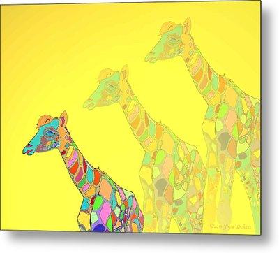 Giraffe X 3 - Yellow - The Card Metal Print by Joyce Dickens