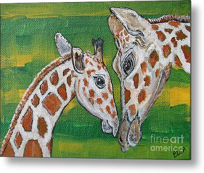 Giraffes Artwork - Learning And Loving Metal Print by Ella Kaye Dickey