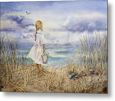 Girl At The Ocean Metal Print by Irina Sztukowski