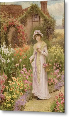 Girl By A Herbaceous Border Metal Print by William Affleck