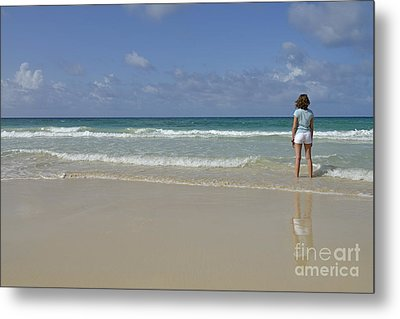 Girl Contemplating Ocean From Beach Metal Print by Sami Sarkis