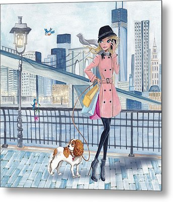 Girl In New York Metal Print by Caroline Bonne-Muller