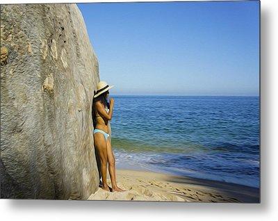 Girl Looking At The Ocean Metal Print by Aged Pixel