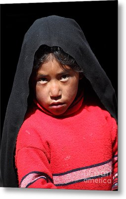 Girl On Taquile Island Metal Print by James Brunker