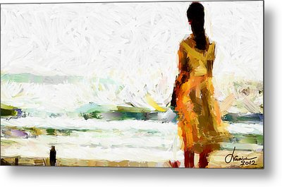 Girl On The Beach Tnm Metal Print by Vincent DiNovici
