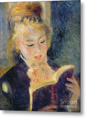 Girl Reading Metal Print by Pierre Auguste Renoir