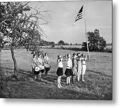 Girl Scout Camp Flag Ceremony Metal Print by Underwood Archives