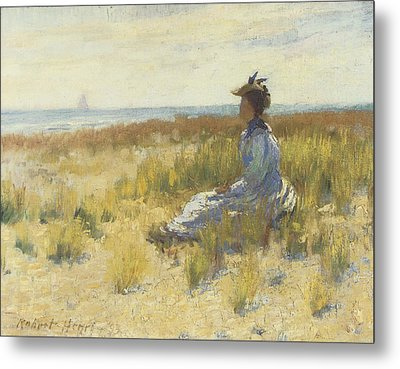 Girl Seated By The Sea Metal Print by Robert Henri