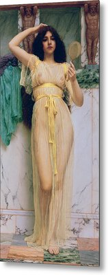 Girl With A Mirror Metal Print by John William Godward