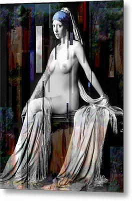Girl With A Pearl Earing Pregnant Nude Metal Print by Karine Percheron-Daniels
