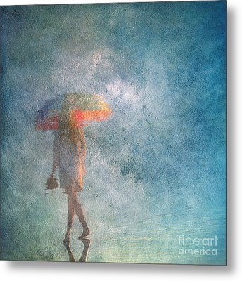 Girl With An Umbrella 3 Metal Print by Russ Brown