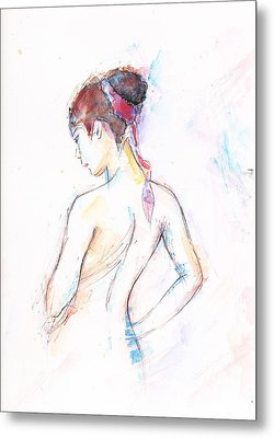 Girl With Red Scarf Metal Print by Jovica Kostic