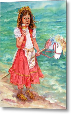 Girl With Wood Horse Metal Print by Estela Robles