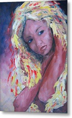 Girl With Yellow Hair Metal Print by Susan Richardson
