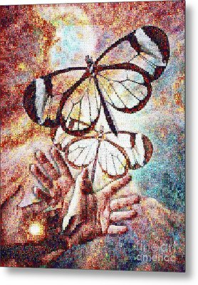 Giving Transforms The Giver Metal Print by Robert Silvers Photomosaic from Anne Watson Composition