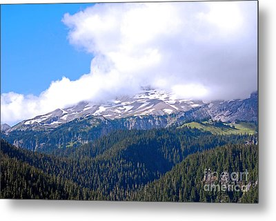 Glaciers In The Clouds. Mt. Rainier National Park Metal Print by Connie Fox