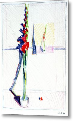 Gladiolas Pic. In Pic. Metal Print by Mark Lunde