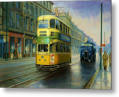 Glasgow Tram. Metal Print by Mike  Jeffries