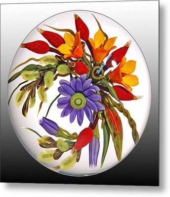 Glass Blooms Leaves And Seedpods Metal Print by Chris Buzzini