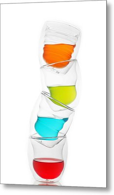 Glass Cups And Colorful Drinking II Liquid Art Metal Print by Paul Ge