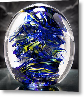 Glass Sculpture Cobalt Blue And Yellow - 13r2 Metal Print by David Patterson