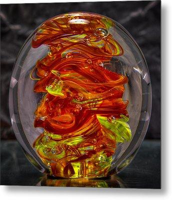 Glass Sculpture - Fire - 13r1 Metal Print by David Patterson