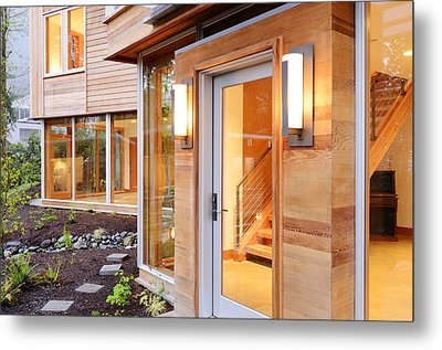 Glass Windows And Doors Of Modern House Metal Print by Will Austin