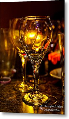 Glasses Aglow Metal Print by Christopher Holmes