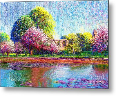 Glastonbury Abbey Lily Pool Metal Print by Jane Small