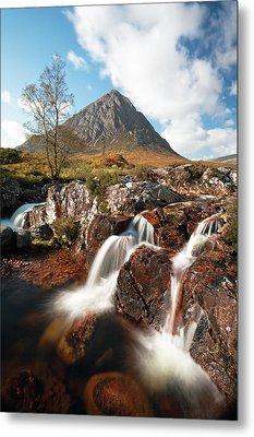 Glen Etive Mountain Waterfall Metal Print by Grant Glendinning