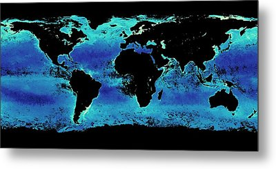 Global Chlorophyll Levels Metal Print by Nasa Earth Observations