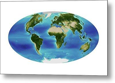Global Chlorophyll Levels Metal Print by Nasa Earth Observatory/ocean Color Web/geoeye