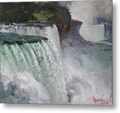 Gloomy Day At Niagara Falls Metal Print by Ylli Haruni