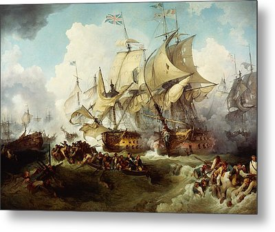Glorious First Of June Or Third Battle Of Ushant Between English And French Metal Print by Anonymous