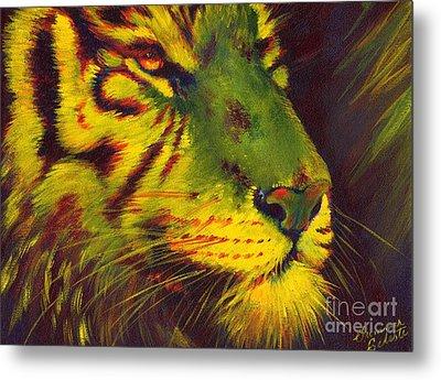 Glowing Tiger Metal Print by Summer Celeste