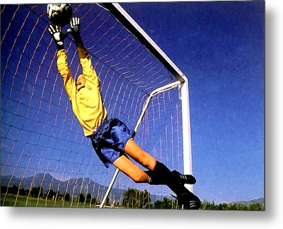 Goalkeeper Catches The Ball Metal Print by Lanjee Chee