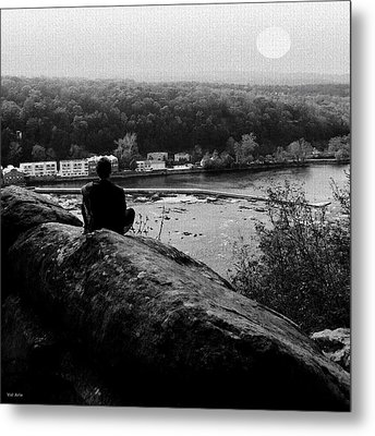 Goat Hill River View Metal Print by Val Arie