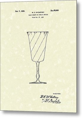 Goblet 1926 Patent Art Metal Print by Prior Art Design