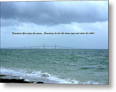 God Calms The Storm Metal Print by Laurie Perry